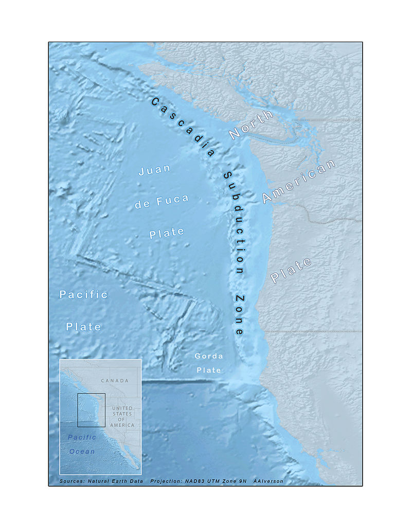 The area of the Cascadia subduction zone.