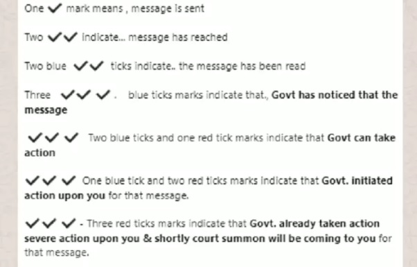 WhatsApp fake news about red tick