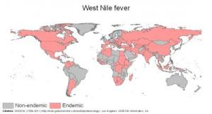 west nile fever map