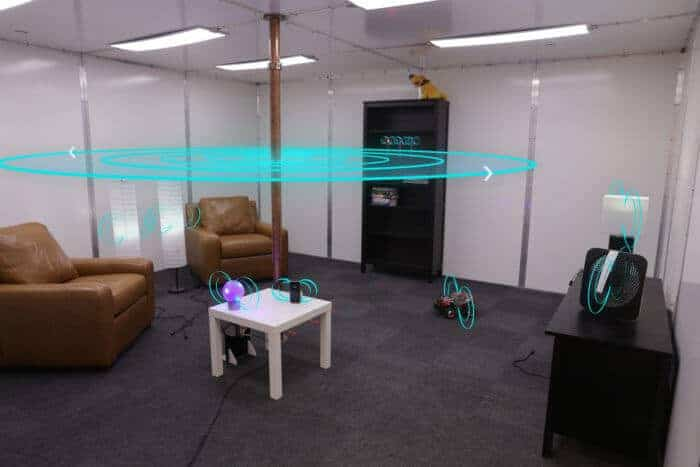 Wireless power transmission safely charges devices anywhere within a room