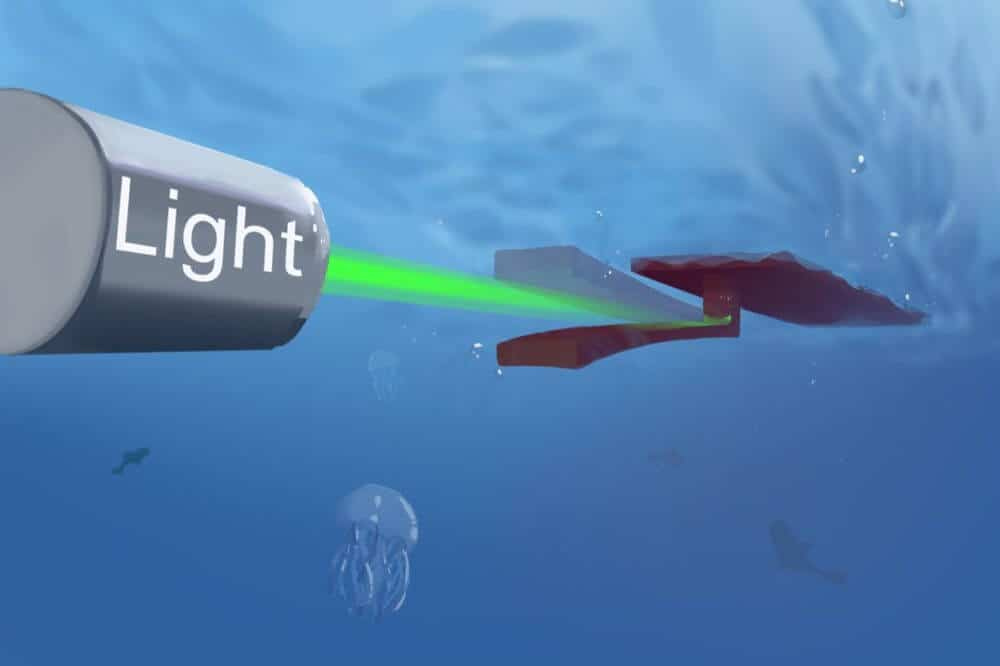 Soft-bodied swimming robot uses only light for power and steering