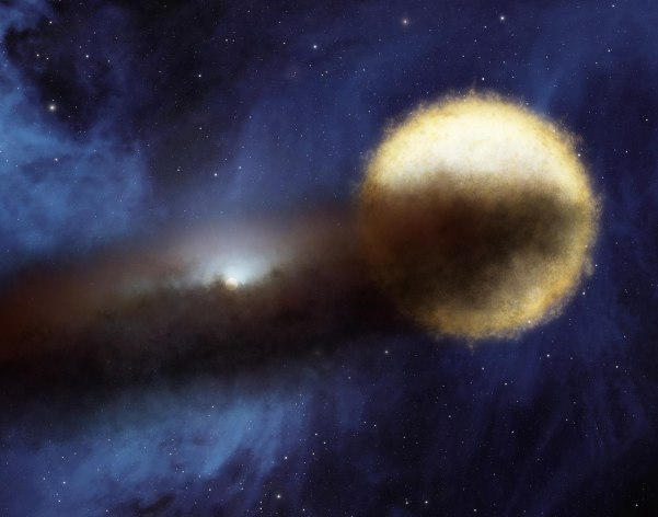 Künstlerische Konzeption des ε-Aurigae-Systems. Bild: NASA, gemeinfrei.
