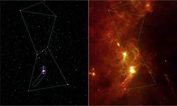 Orion im Visuellen (links) und Infraroten (rechts, Aufnahme des Spitzer-Weltraumteleskops). Die heißen, blauen O- und B-Sterne des Orion fehlen auf der IR-Aufnahme, nur Beteigeuze ist noch zu sehen. Dafür tritt der leuchtende Wasserstoff viel mehr hervor. Bild: NASA/JPL, gemeinfrei.