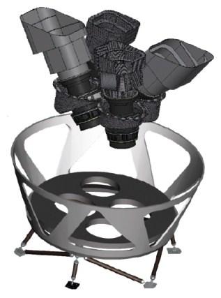 Anordnung der vier TESS-Kameras im Frontteil des Teleskops (vgl. Artikelbild). Bild: NASA/MIT [1]