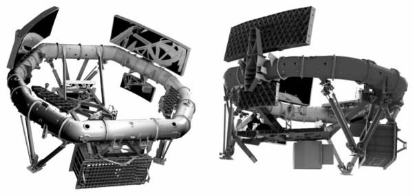 Nutzlast von Gaia: Aufbau aus Siliciumcarbidrahmen mit Befestigungselementen, Spiegeln und Sensor (linkes Bild: unten, rechtes Bild: rechts). Bild: ESA, [1]