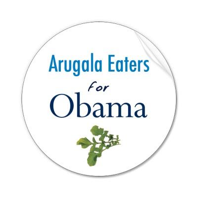i-70dc85bfa2fcb985fdce6667cbd46f58-arugula_eaters_for_obama_stickers-p217750105102502597n_400.jpg
