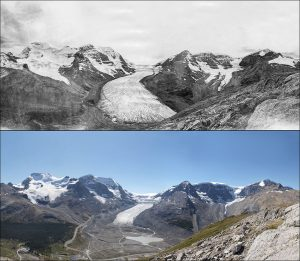 Athabasca Glacier Alberta 1917 vs 2011