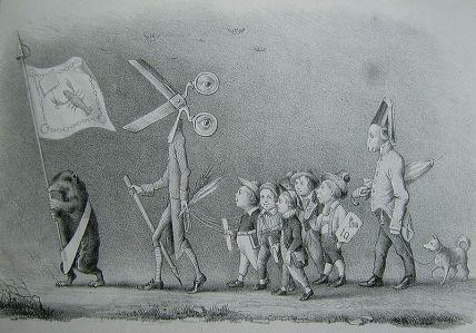 In der Karikatur Die gute Presse von 1847 aus unbekannter Feder steht der Krebs für Rückschritt, der Spiegel des Krebses für die Rückwärtsgewandtheit, der Maulwurf für Blindheit, Kerzenlöscher für Dunkelheit, die Schere und Stift für Zensur, die Rute für Drangsal, die Augen für Überwachung, die Kinder für den bevormundeten Bürger, der Schafskopfspolizist für die Dummheit der Staatsmacht und der Spitz für die Spitzelei. Die Karikatur erschien in der Zeitschrift Leuchtturm