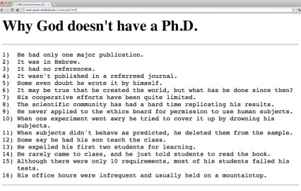 Why god has no phd