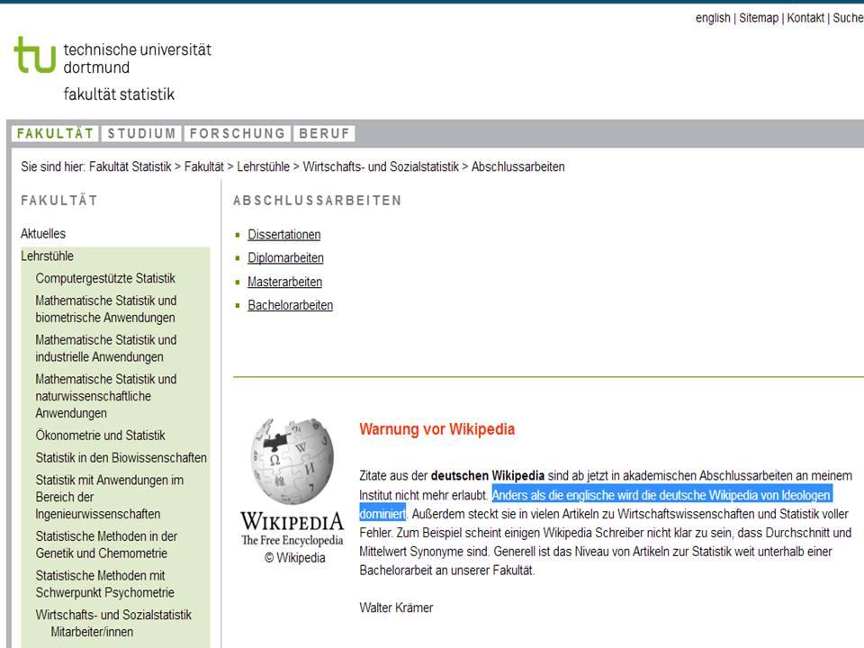 Von Ideologen dominiert: An der TU-Dortmund ist Wikipedia-Nutzung ...