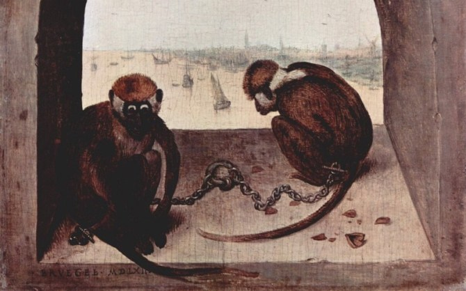 Two monkeys Bruegel painting