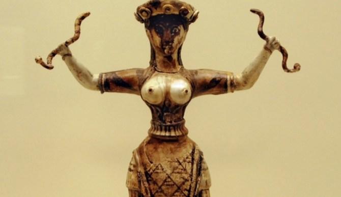 Mycenaean snake woman sculpture