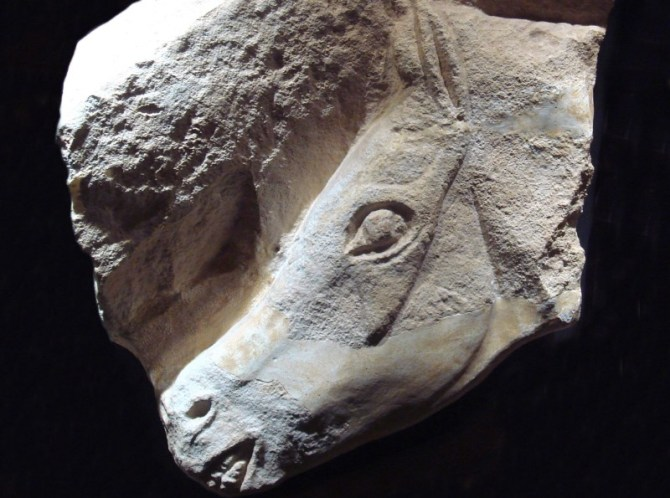 Ice age horse carving prehistoric