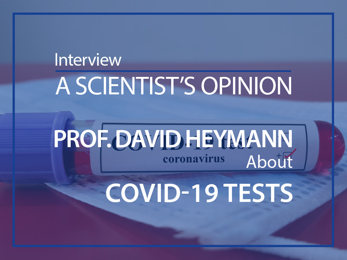 Prof. David Heymann ESMH interview blood tube of covid-19 on a mask