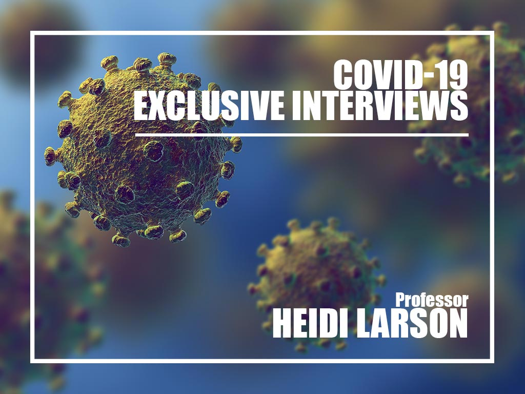 COVID-19 illustration in microscope Heidi Larson interview