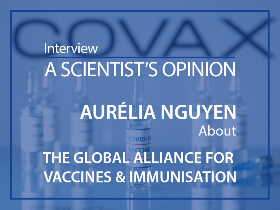 Covax vaccine against COVID-19. Glass medical vials with liquid on the background Covax company logo. Ampoules with coronavirus vaccine on a medical glass table