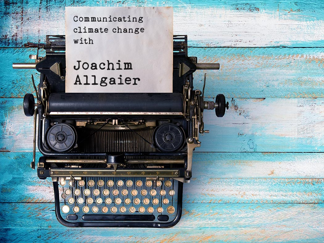 Joachim Allgaier interview Vintage typewriter header with old paper. retro machine technology - top view and creative flat lay design