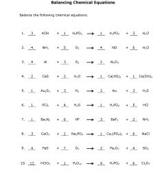 Balancing Chemical Equations Practice Sheet [ 2200 x 1700 Pixel ]