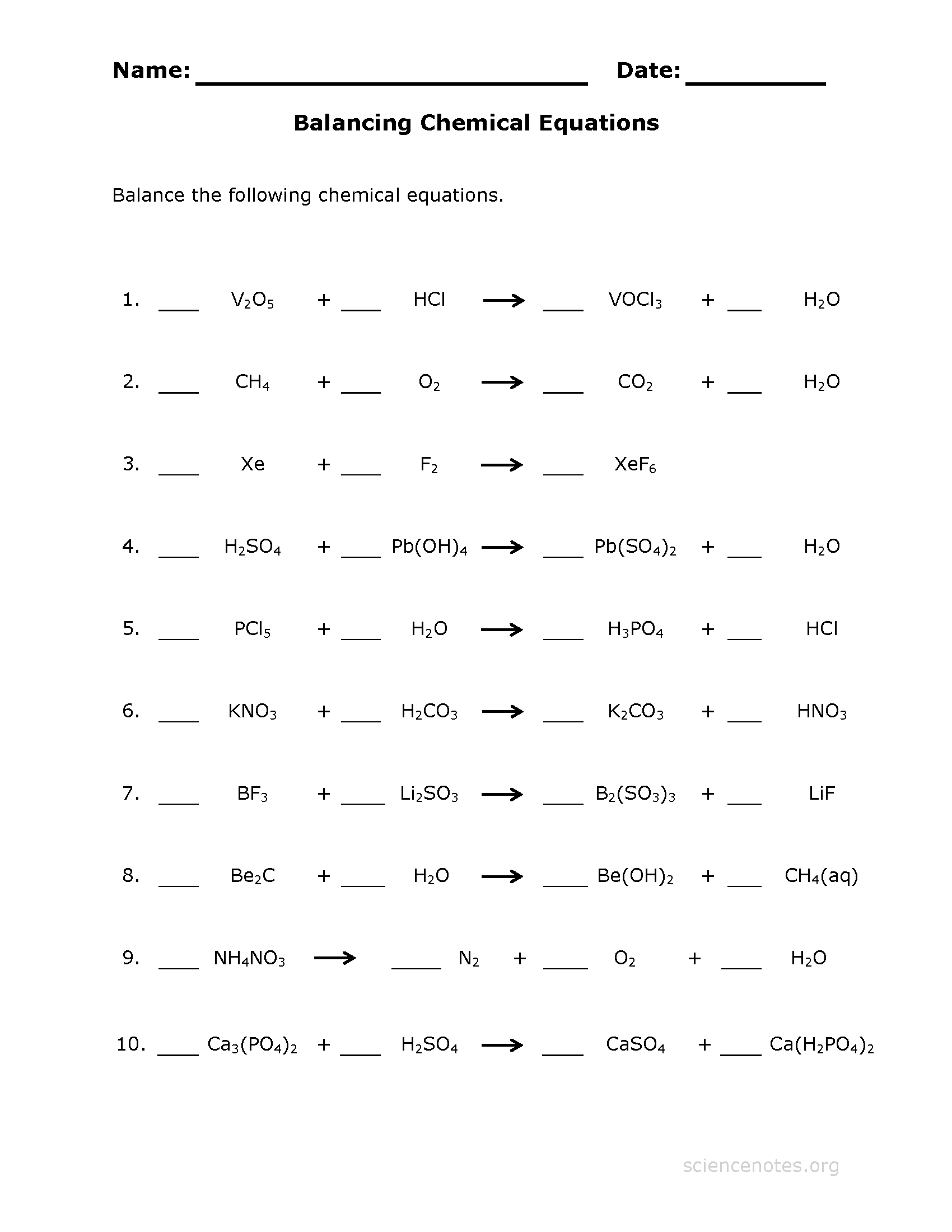 Balance Chemical Equations Worksheet