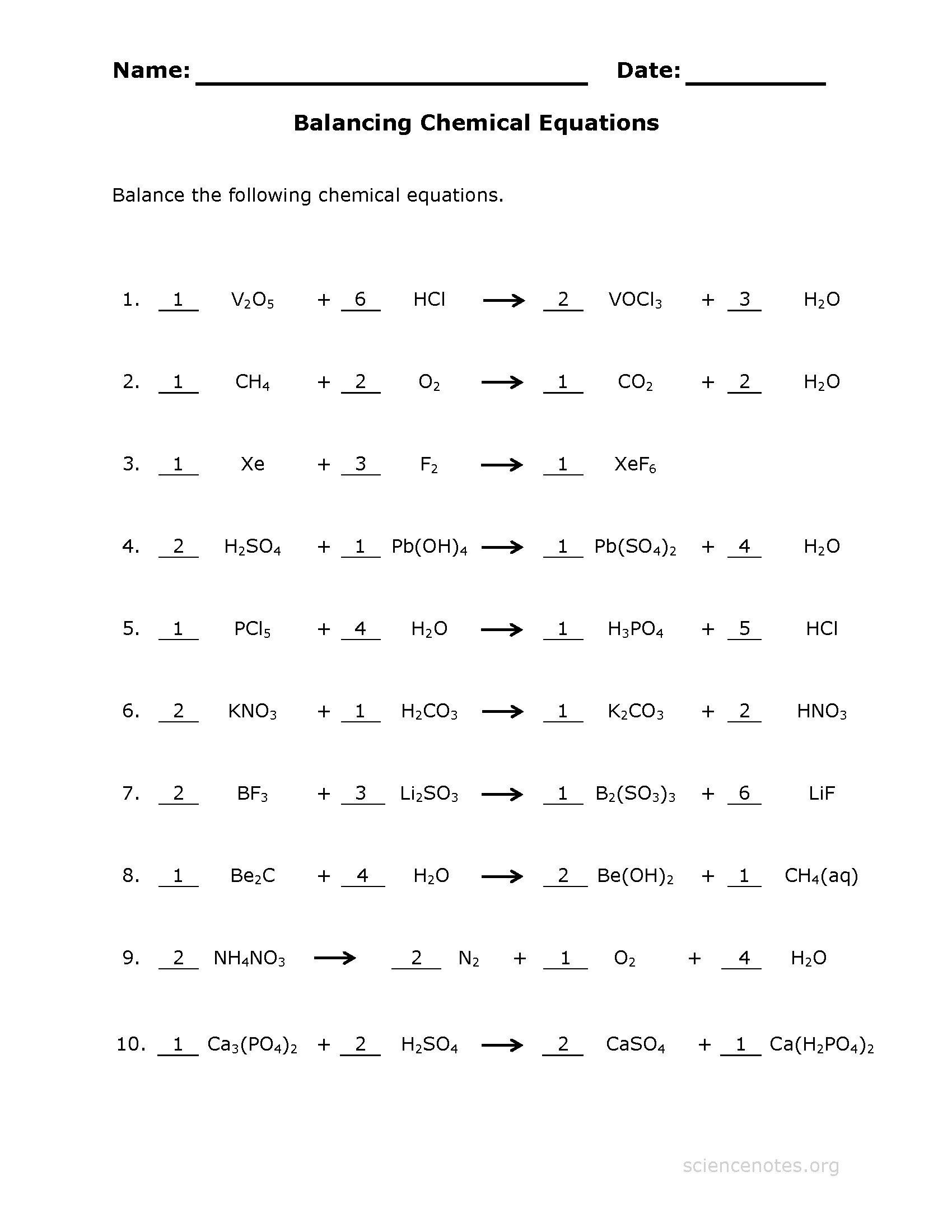 Balancing Chemical Equations Worksheet Part 1
