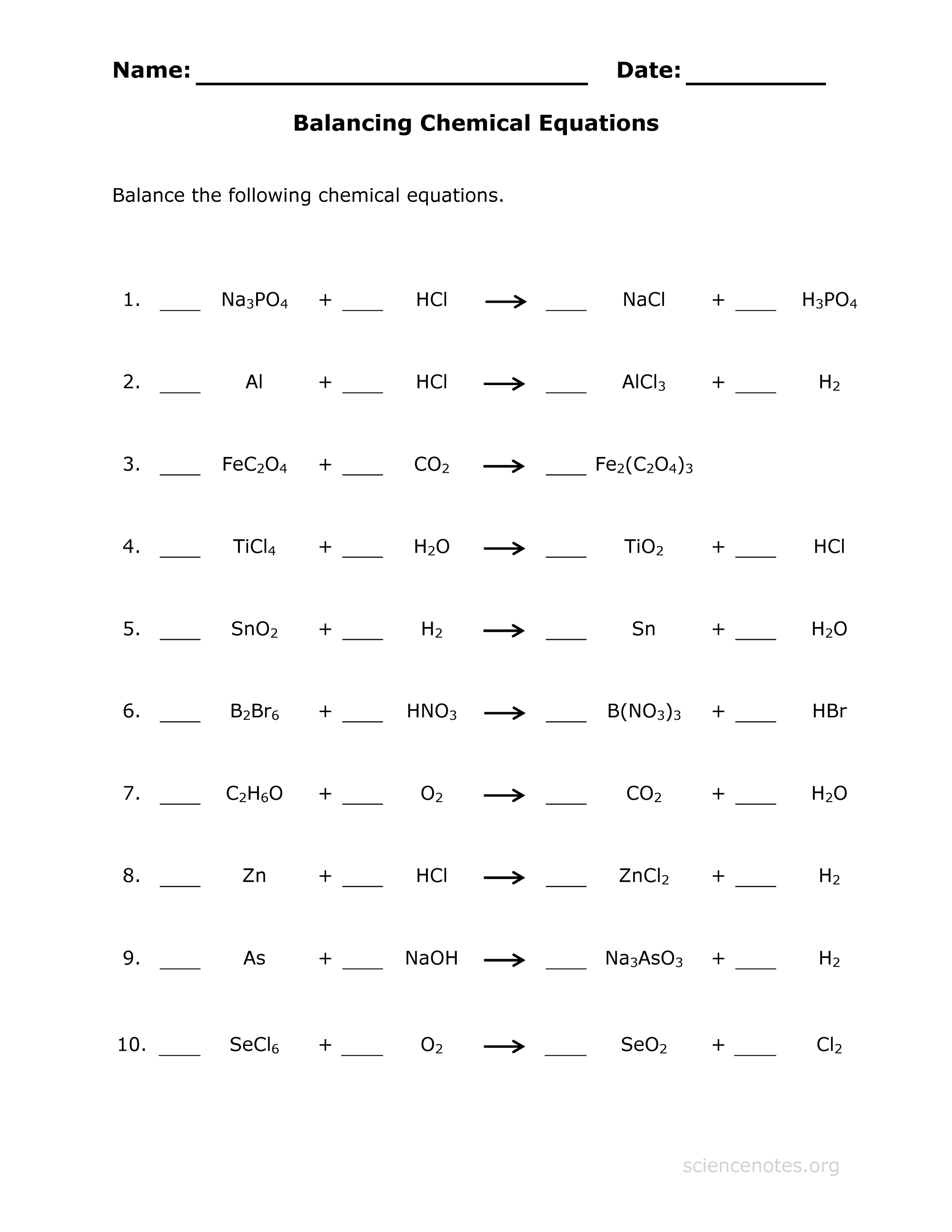 hight resolution of Balance Chemical Equations Practice Sheet