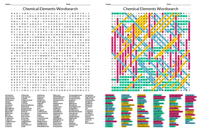 118 Element Wordsearch