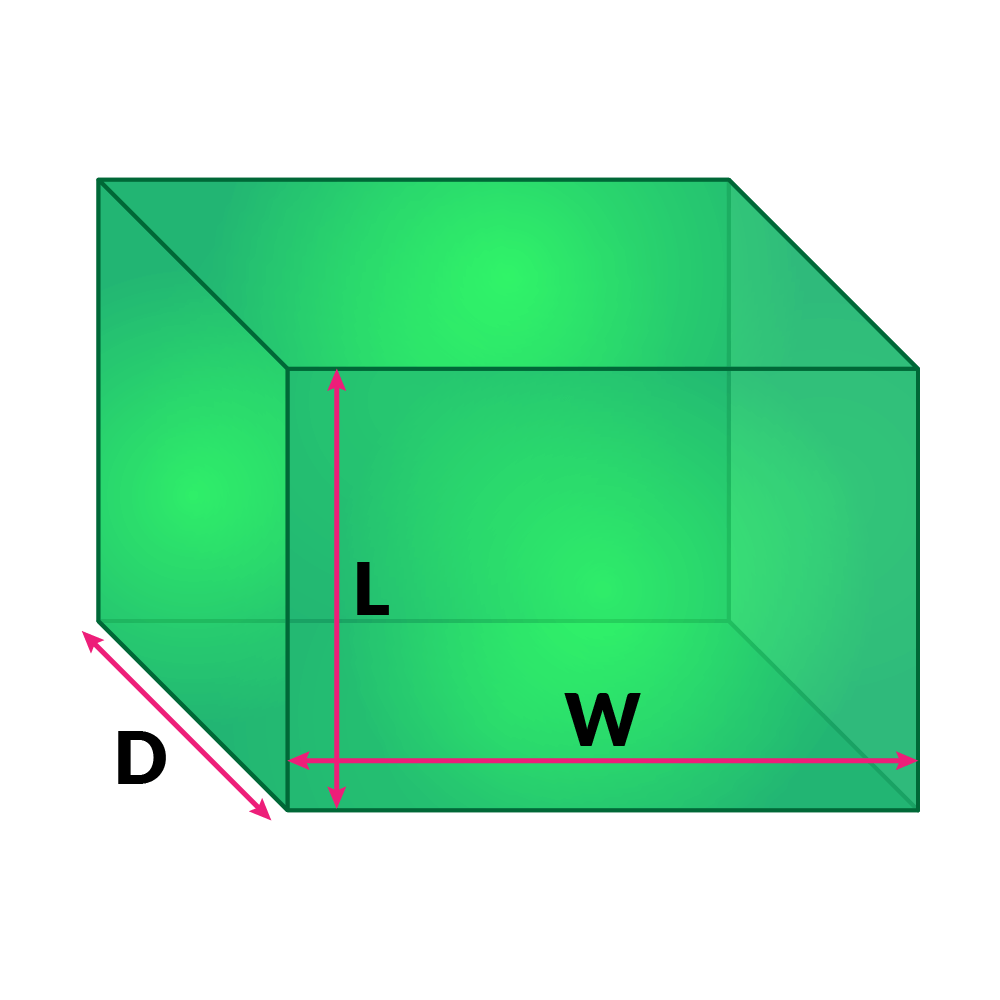hight resolution of Surface Area Formulas and Volume Formulas of 3D Shapes