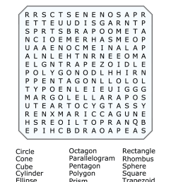 2D and 3D Shapes Word Search Puzzle [ 1584 x 1224 Pixel ]