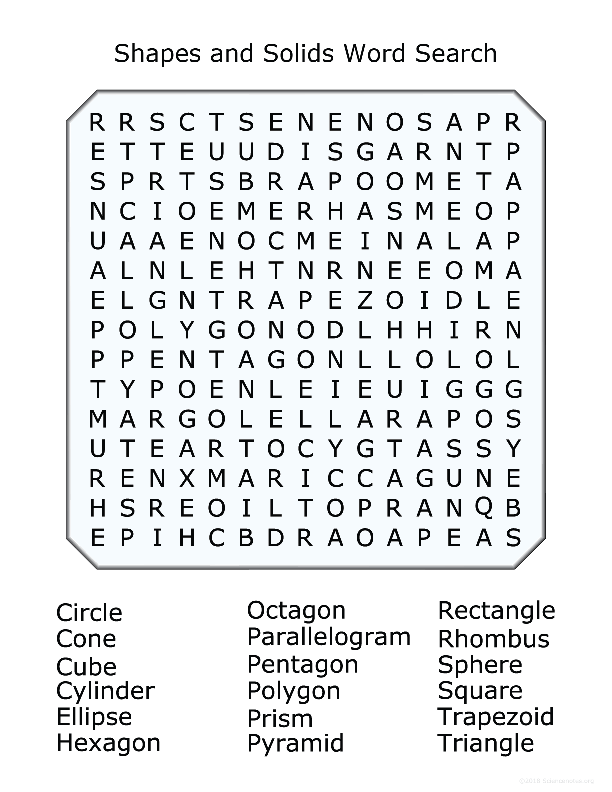 hight resolution of 2D and 3D Shapes Word Search Puzzle