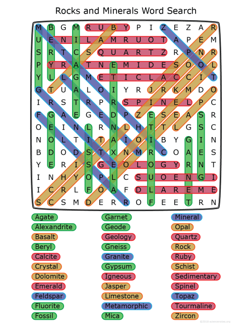 small resolution of Rocks and Minerals Word Search
