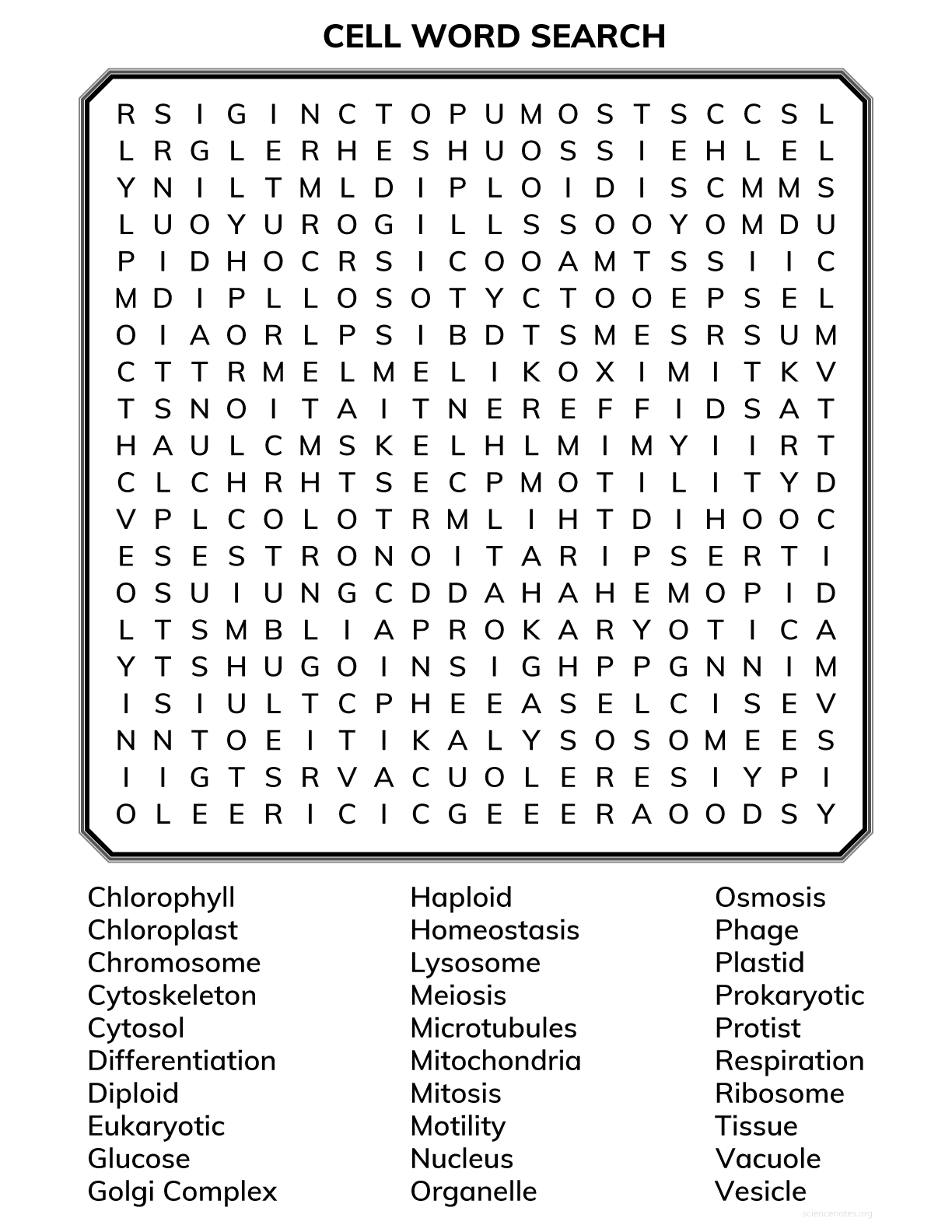 hight resolution of Cell Biology Word Search