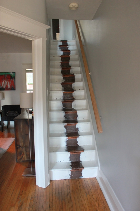 Stair Refinishing Project The Science Of Married   Staircase Refinishing Near Me   Basement   Restaining   Brown Stained   White Riser   Grey Flooring