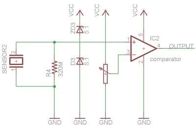 piezo vibration sensor with comparator