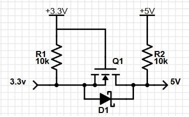 Simulating MOSFET based bidirectional 3.3V to 5V logic