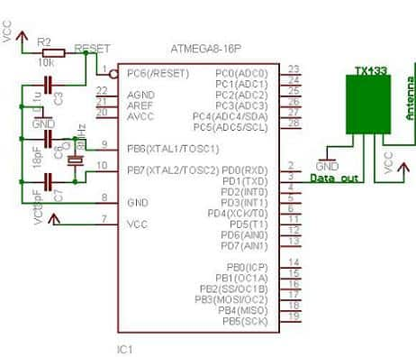 TX433 rf module interfaced to AVR Atmega