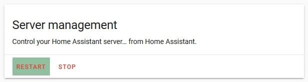 Restart home assistant server