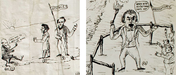 Details from the previous broadsheet show Darwin as a monkey, with Huxley beside Tyndall flying the flag of science, and Charles Braudlaugh the atheistic reformer, as personifying revolution and mob mentality, brandishing a torch and a spear. (Source: Whipple Museum of the History of Science, University of Cambridge, Wh.5935. Copyright: Whipple Museum, used with kind permission)