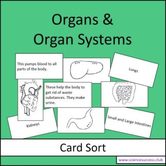 Screenshots of the Organs and Organ Systems card sort