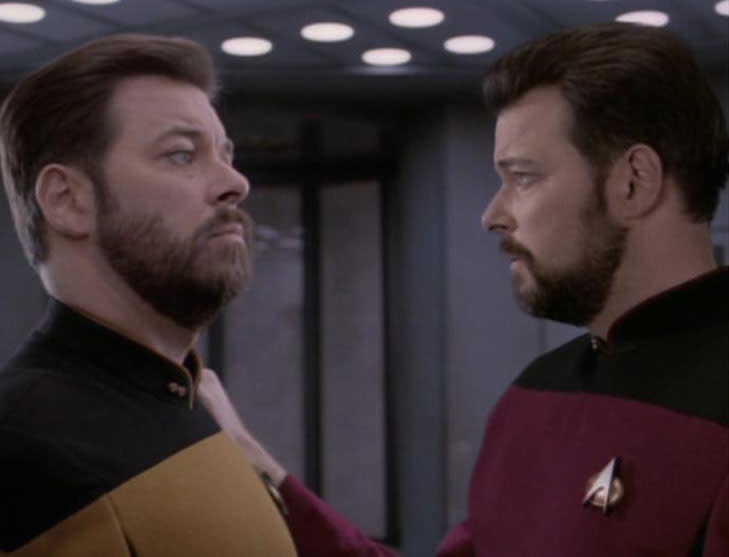 William Riker gets duplicated in transporter death machine accident