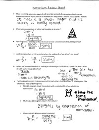 Momentum Worksheet Answer Key. Worksheets. Ratchasima