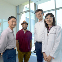 UT Southwestern researchers who reported that inactivating a single protein-coding gene promotes tissue regeneration in mammals (l-r): Dr. Chao Xing, Mohammed...