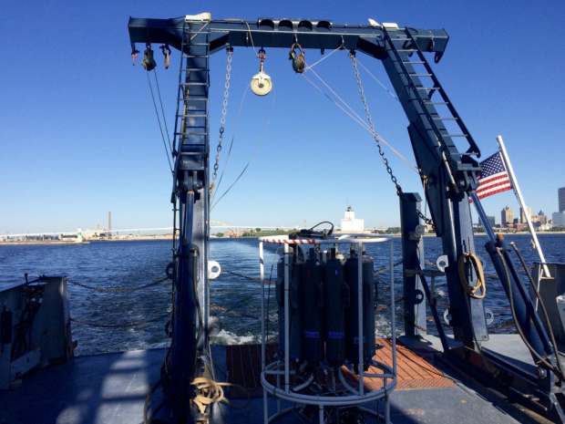 The CTD Rosette on board the Blue Heron. Photo contributed by Sara Paver