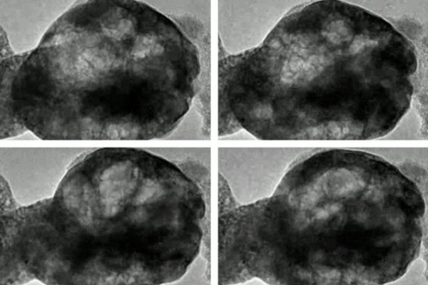 These images, taken from a transmission electron microscope, show a perovskite material oscillating as it is exposed to water vapor and a beam of electrons. Credit: Courtesy of the researchers