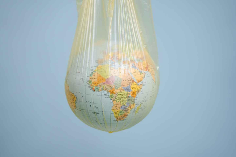 a globe in a plastic