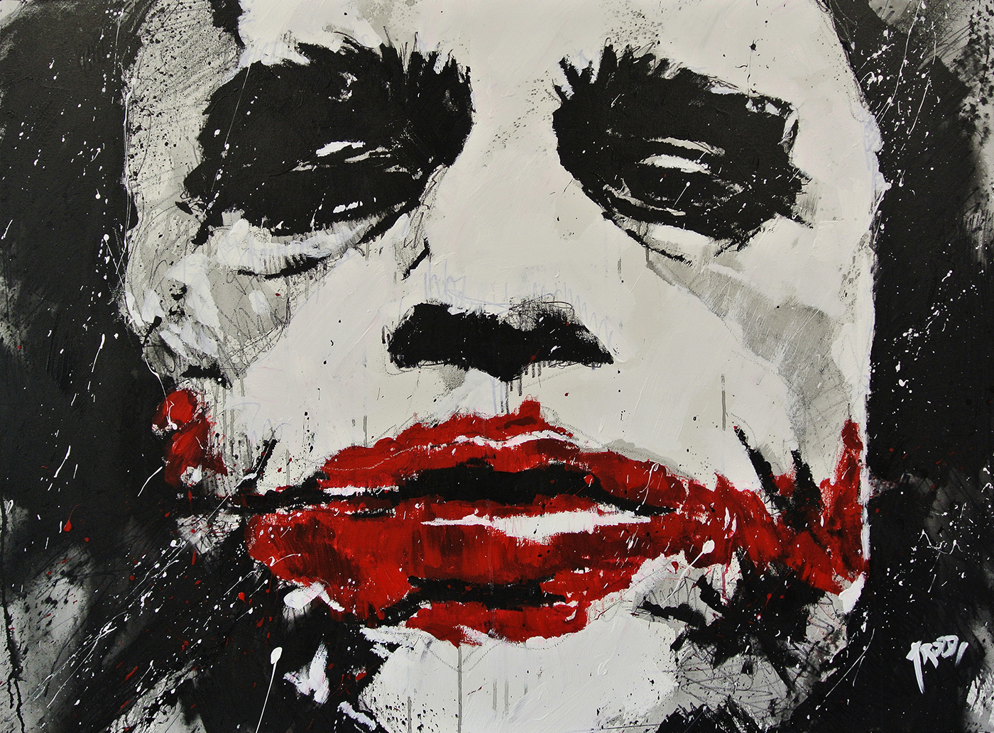 Painting of Heath Ledger as the Joker by Eduardo Valdivieso