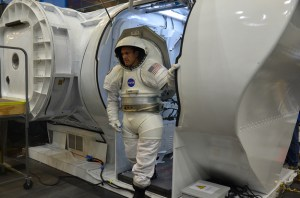 David Coan, wearing a Mark III spacesuit, exits NASA's multi-mission Space Exploration Vehicle (SEV) during an asteroid mission simulation at the Johnson Space Center in Houston, Aug. 30, 2012. - See more at: http://www.space.com/17412-nasa-mock-asteroid-mission-2025-tests.html#sthash.gT7AGQId.dpuf