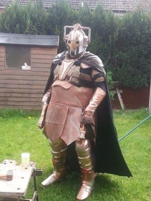 SCIFI.radio's U.K. correspondent, Ralph Carr, styling (and sweating!) in his Steampunk Cyberman costume.
