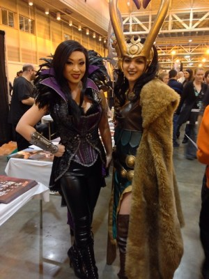 Yaya Han and contestant pose together.