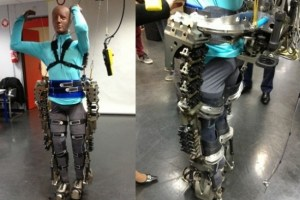 The robotic, mind-controlled exoskeleton to be used to kick out the first ball of the FIFA World Cup this year.