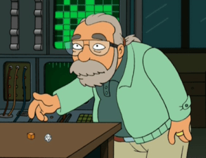 """Gary Gygax as he appeared in the Futurama Episode """"Anthology of Interest I,"""" where he gives Fry a +1 mace for protection from drunken robots, appearing in animated form along with Al Gore, and Nichelle Nichols (Uhuru), and Stephen Hawkings. Matt Groening, Futurama and Simpsons creator, has also been known to roll some dice."""